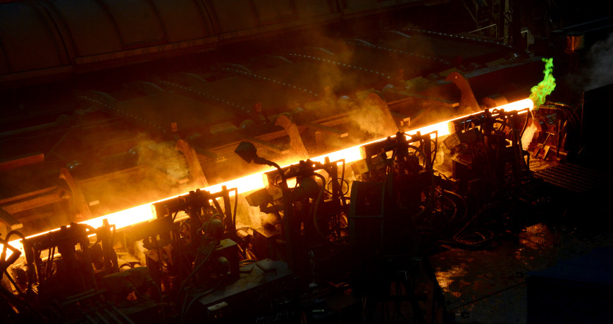 A steel pipe is manufactured through the rotary hearth furnace at TMK IPSCO plant in  Ambridge on Thursday, April 30, 2015. TMK IPSCO plant runs 24 hour-a-day, 7-days-a-week, employing 380 people on four shifts, to fill the growing number of orders from the natural gas industry.